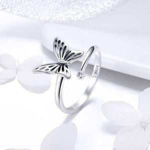 Inel din argint reglabil cu Fluture si Cristal