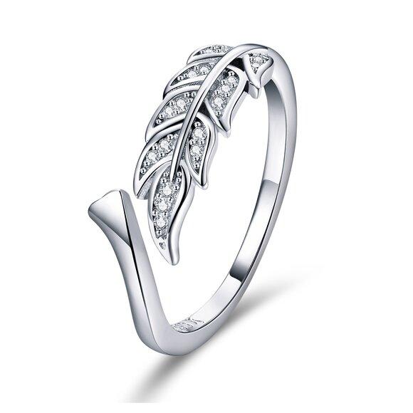 Inel din argint reglabil cu Frunzulita si Cristale