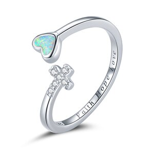 Inel din argint reglabil Faith Hope Love