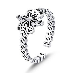 Inel din argint reglabil Winter Snowflake