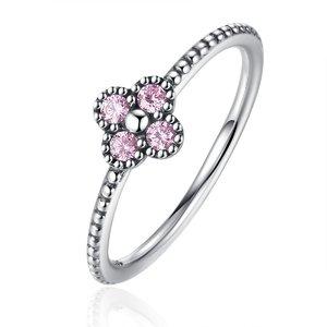 Inel din argint Romantic Clover pink