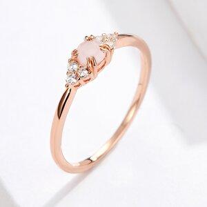 Inel din argint Rose Gold Pink Stone