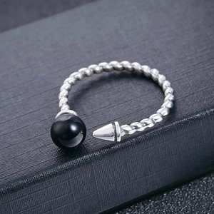 Inel din argint Simple Black Pearl