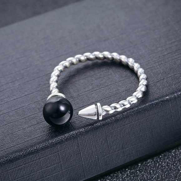 Inel din argint Simple Black Pearl