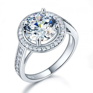 Inel din argint Simple Round Diamond