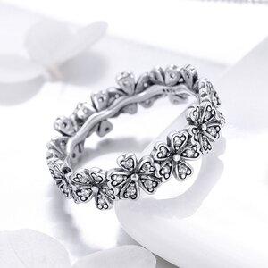 Inel din argint Sparkling Daisies Band