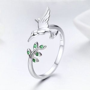 Inel din argint Spring Bird green