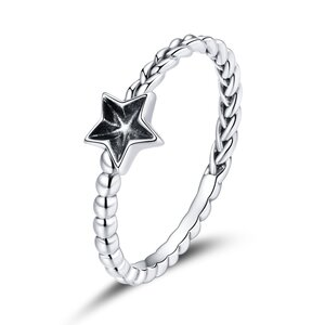 Inel din argint Swirl Black Star