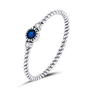 Inel din argint Swirl Blue Stone