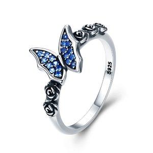 Inel din argint Vintage Blue Butterfly