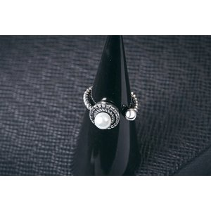 Inel reglabil din argint White Silver Pearls