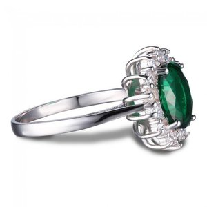 Inel din argint Emerald Russian Crown Drop