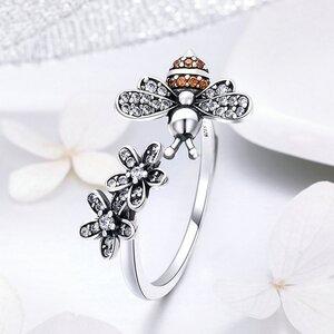 Inel reglabil din argint Bee & Daisy Flowers