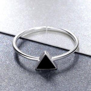 Inel reglabil din argint Black Triangle