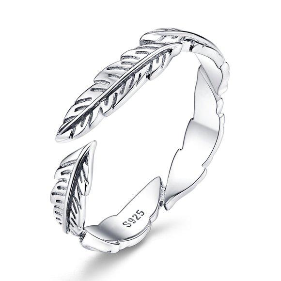 Inel reglabil din argint Boho Feather