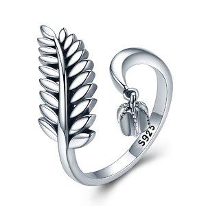 Inel reglabil din argint cu Frunza Argintie