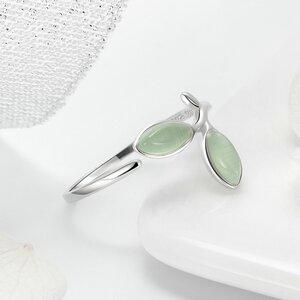 Inel reglabil din argint cu Frunze Verzi