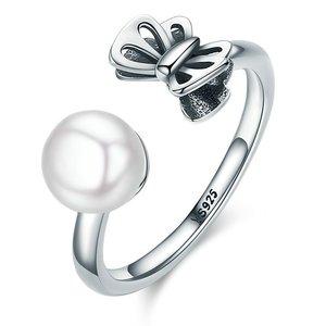 Inel reglabil din argint cu Perla si Fluture