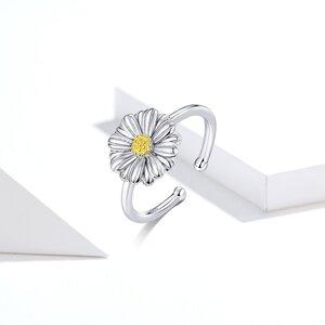 Inel reglabil din argint Cute Daisy