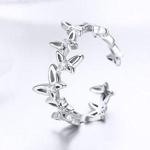 Inel reglabil din argint Dancing Butterflies