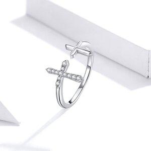Inel reglabil din argint Double Cross