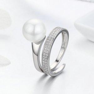Inel reglabil din argint Elegant White Pearl