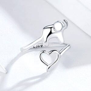 Inel din argint I Love Elephant