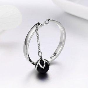 Inel reglabil din argint Flower Pearl black