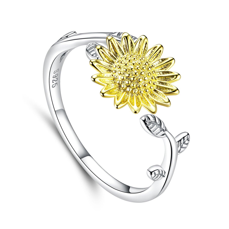 Inel reglabil din argint Golden Sunflower poza 2021