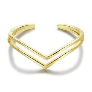 Inel reglabil din argint Golden V Shape