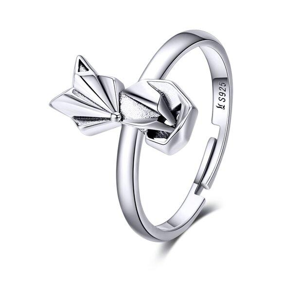 Inel reglabil din argint Origami Fox