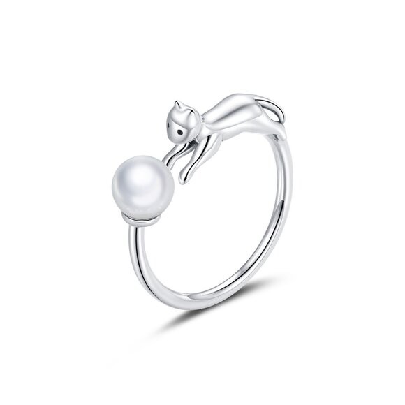 Inel reglabil din argint Pearl Kitty