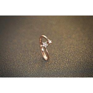 Inel reglabil din argint pentru falanga Golden Star