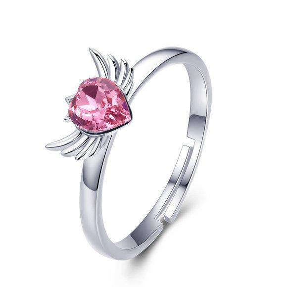 Inel reglabil din argint Pink Heart Wings