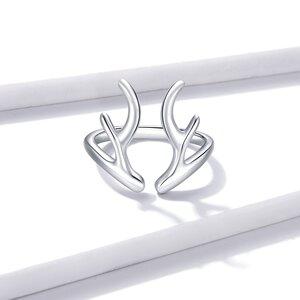 Inel reglabil din argint Reindeer Horns