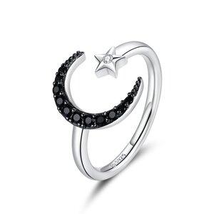 Inel reglabil din argint Shiny Black Moon