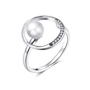 Inel reglabil din argint Silver Circle Pearl