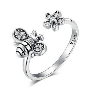 Inel reglabil din argint Silver Daisy Bee