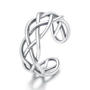 Inel reglabil din argint Silver Ropes