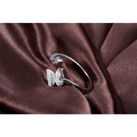 Inel reglabil din argint Silvery Little Butterfly