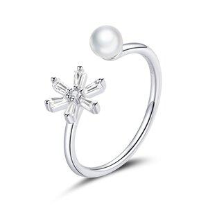 Inel reglabil din argint Sparkling Flower & Pearl