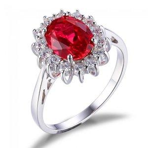 Inel din argint Ruby Princess Crown Drop