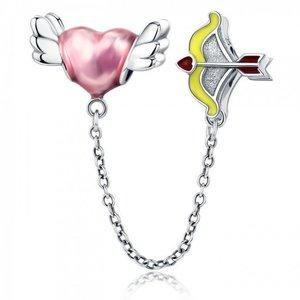 Lant de siguranta din argint Cupidon's Heart