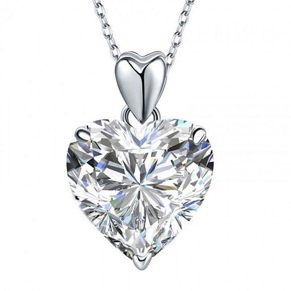 Pandantiv cu lantisor din argint Big Diamond Heart