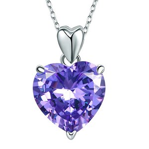 Pandantiv cu lantisor din argint Big Diamond Heart Light Purple