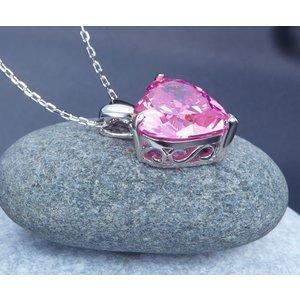 Pandantiv cu lantisor din argint Big Diamond Heart Pink