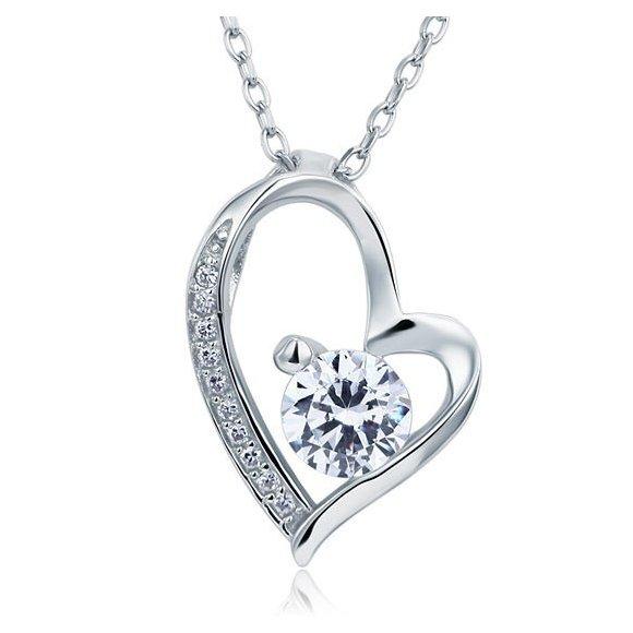 Pandantiv cu lantisor din argint Classic Heart Diamond