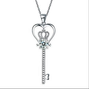 Pandantiv cu lantisor din argint Diamond Crown Key