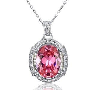 Pandativ cu lantisor din argint Big Pink Diamond