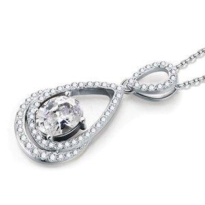 Pandativ cu lantisor din argint Oval Diamond Clear